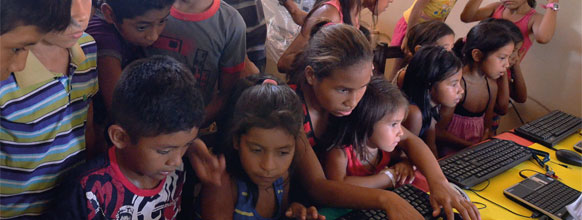 Children in their connected classroom in the village of Suruacá