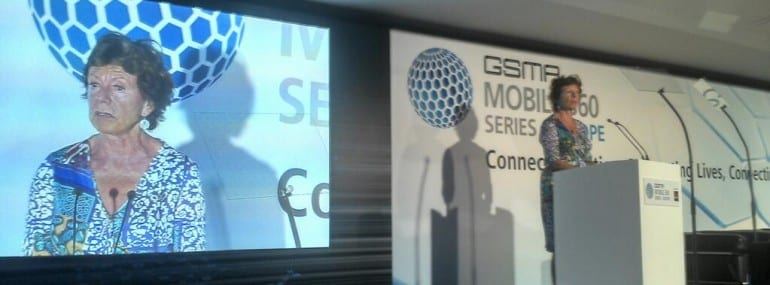 Neelie Kroes spoke at the GSMA's Mobile 360 event in Brussels