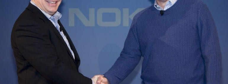 Stephen Elop and Steve Ballmer at the announcement of the Nokia-Microsoft tie-up