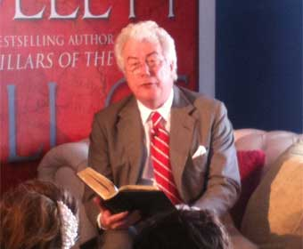 Are you sitting comfortably...? Author Ken Follett reads from his latest book at the launch of O2 Priority Moments in London on Thursday