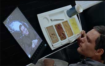 Samsung is citing Stanley Kurick's 1968 film, 2001: A Space Odyssey as evidence of prior art. Here Dave Bowman views an iPad like device