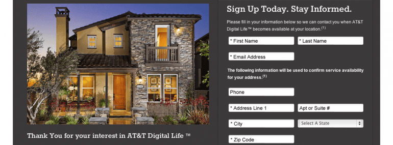 AT&T's Digital Life registration page