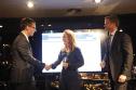 Elaine Weidman-Grunewald, receiving Ericsson's Telecom.com Award for the firm's Millennium Villages project