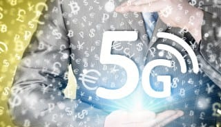 businessman holding in hand 5G, technology background