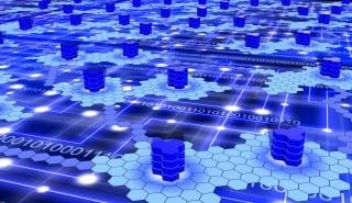 Hexagon supercomputer network on blue.