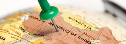 Location China. Green pin on the map.