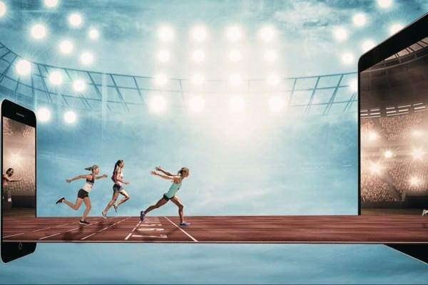 Composite image of sportswoman finishing her run