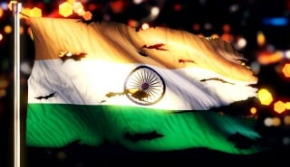 India National Flag Torn Burned War Freedom Night 3D