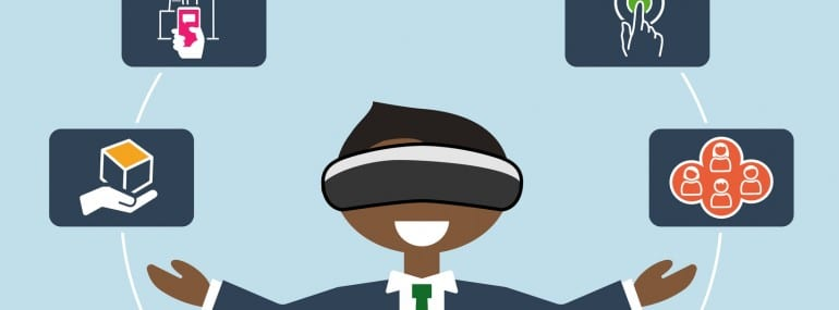 Virtual reality concept as vector illustration of business man using VR headset