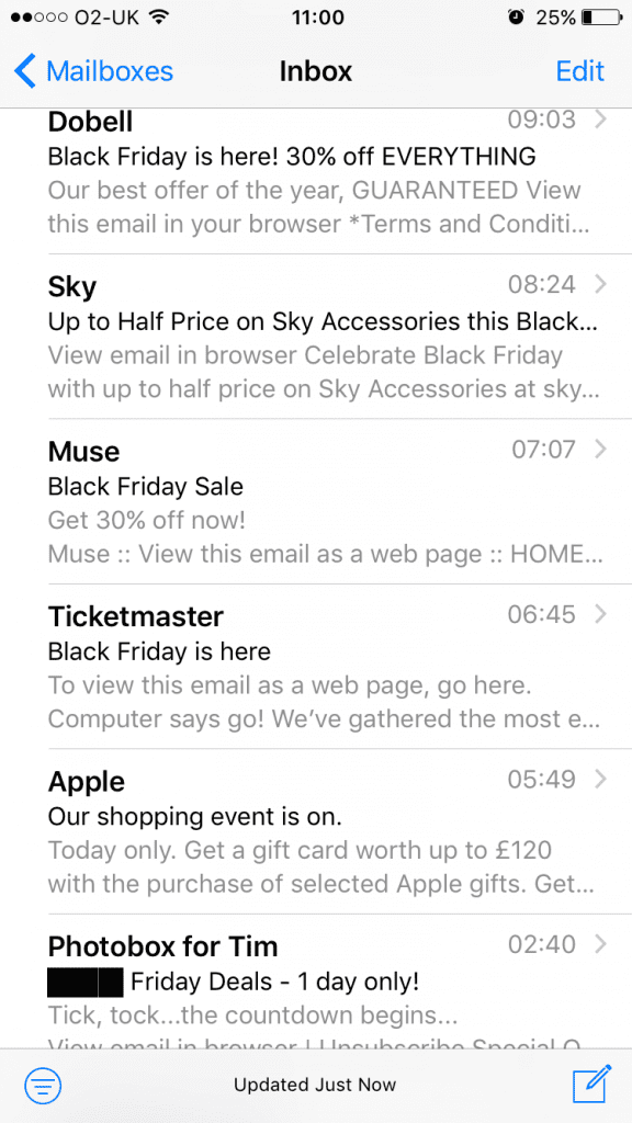 Black Friday oh just leave me alone