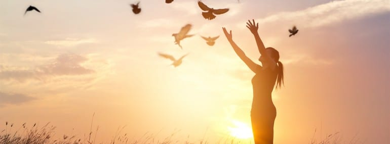 Woman praying and free birds enjoying nature on sunset background