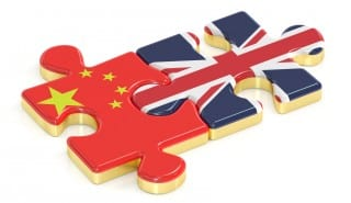 China and UK puzzles from flags, 3D rendering