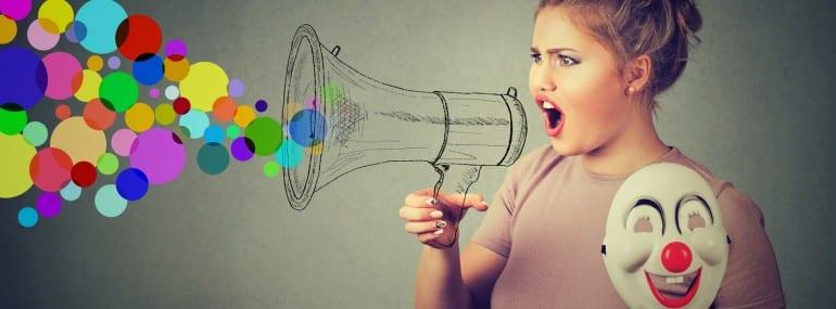 Woman screaming in megaphone. Propaganda social media communication concept