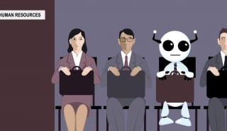 Cartoon robot sitting in line with applicants for a job in front of a human resources office, EPS 8 vector illustration