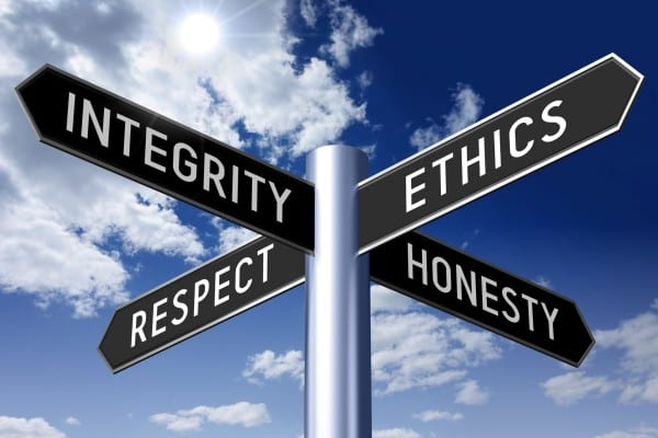 Signpost with four arrows - business ethics (integrity, ethics, respect, honesty).