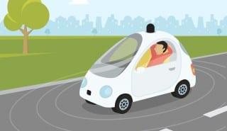 Self-driving car flat modern illustration
