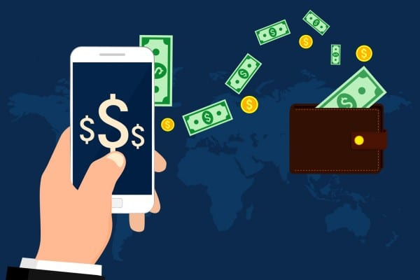 Sending money from via mobile phone. Vector illustration.