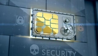 Network security. sim card safe deposit box's digital vault door in abstract techno wall. 3d