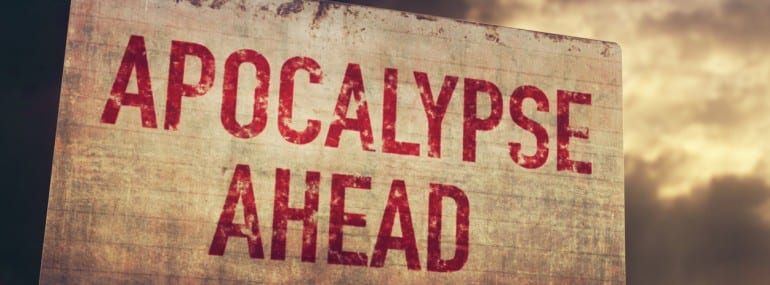 Apocalypse Ahead Rusty Sign under Clouds