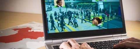 Laptop with street image and facial recognition in China