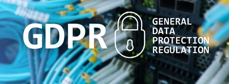 GDPR, General data protection regulation compliance. Server room background.