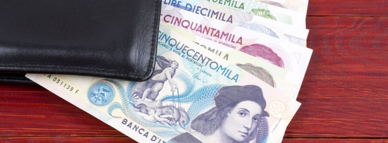 Money from Italy in the black wallet