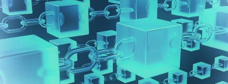 Blockchain Network Architektur mit Ketten und Würfel Darstellung
