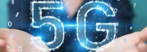 Businesswoman using 5G network digital hologram 3D rendering