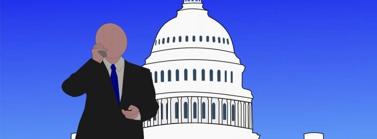 Senator on phone outside us capitol