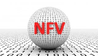 NFV conceptual sphere binary code 3d illustration