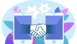 Online, distant deal, business agreement. Hands come out of smartphone, handshake. Poster for web page, banner, social media, presentation. Flat design vector illustration