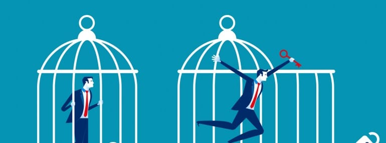 Freedom concept. Business team locked and key free himself from cage. Concept business vector illustration.