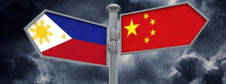 China and Philippines flag sign moving in different direction. 3D Rendering