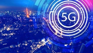 5G network with aerial view of Tokyo