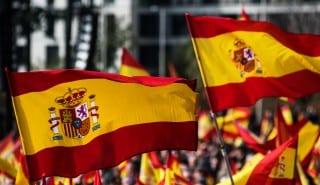 Spanish Flags waving