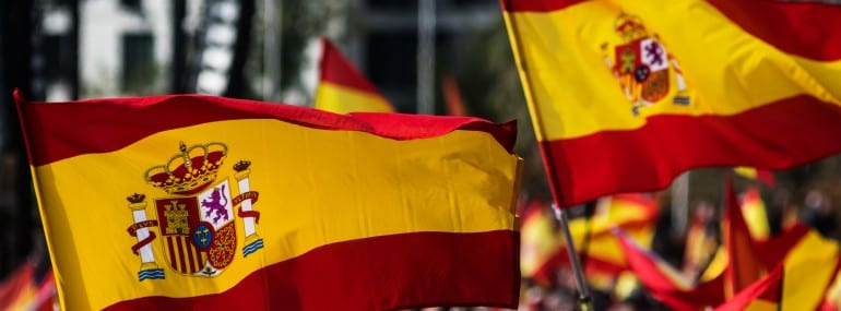 Spanish Flags waving