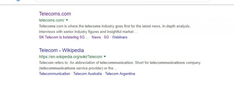 telecom google search