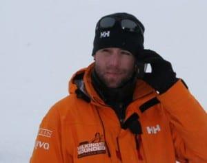 Chris Downey of team Commonwealth using an Iridium handset