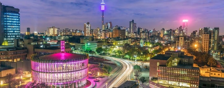 Johannesburg evening cityscape of Council Chamber and Hillbrow