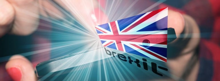 A phone with a Union Jack and Brexit