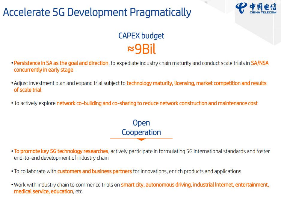 China telecom 2019 5G slide